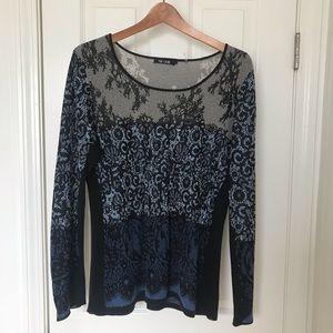 NIC+ZOE Sweater Tunic Black, Blue, Gray Size Large